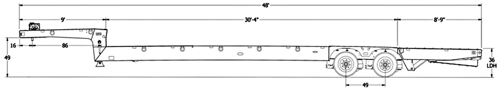 XL Specialized 80PT – Power Tail Drop Deck Trailer